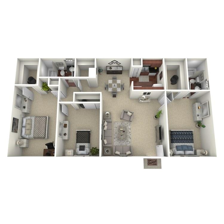 Floor plan image of 3 Bed 2 Bath C