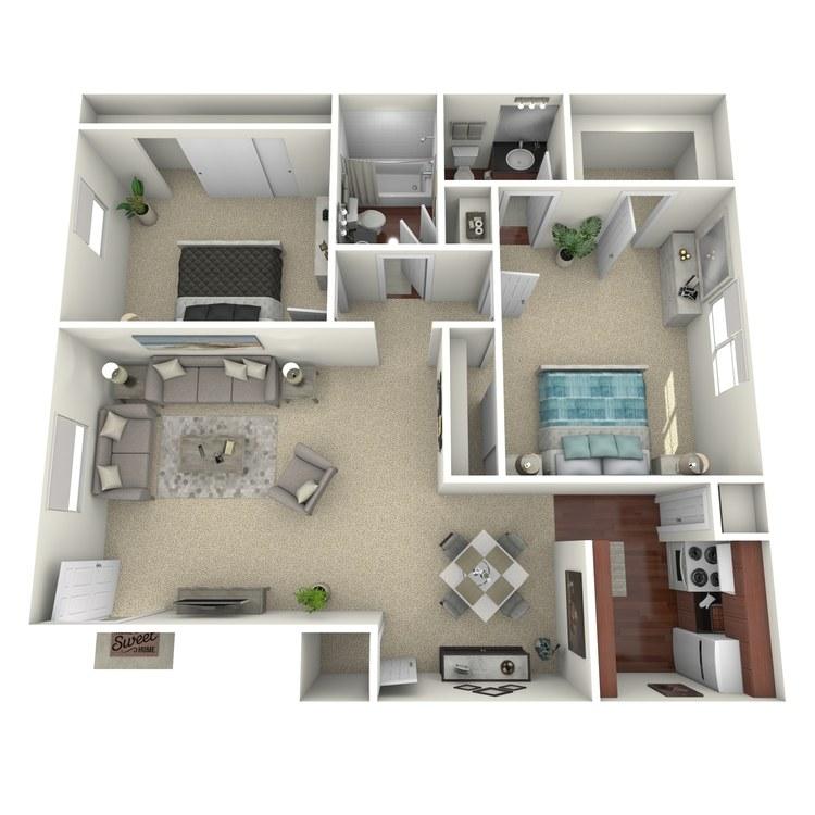 Floor plan image of 2 Bed 1.5 Bath B