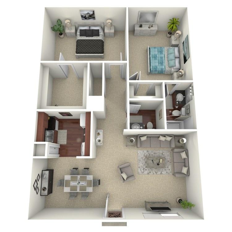 Floor plan image of 2 Bed 1.5 Bath D