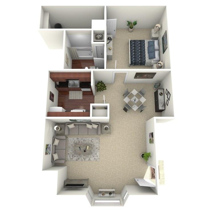 Floor plan image of 1 Bed 1 Bath D