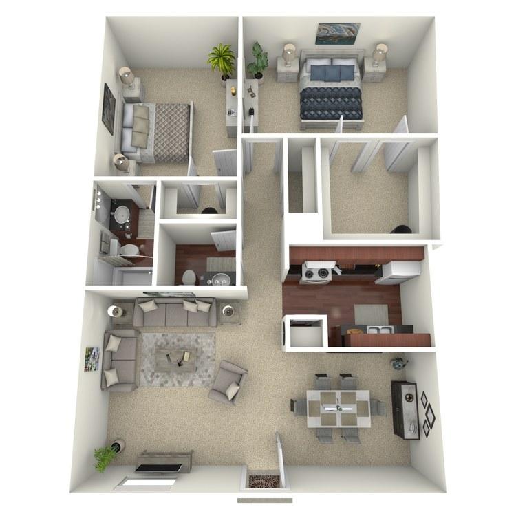 Floor plan image of 2 Bed 1.5 Bath F