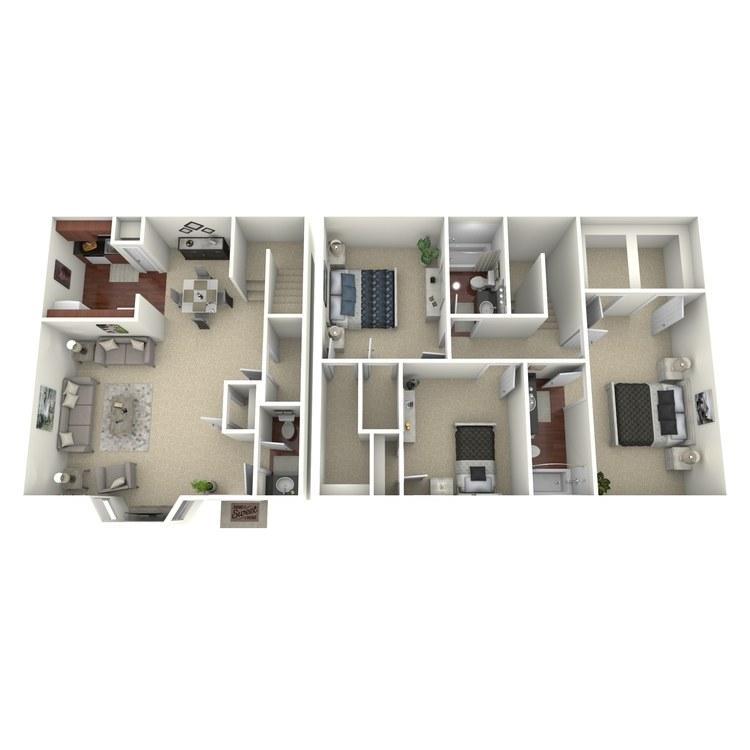 Floor plan image of 3 Bed 2.5 Bath A