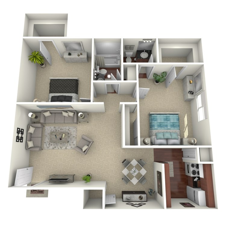 Floor plan image of 2 Bed 1.5 Bath C