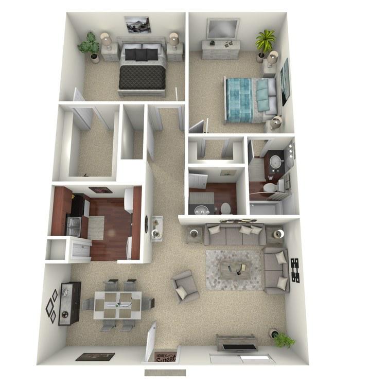 Floor plan image of 2 Bed 1.5 Bath A