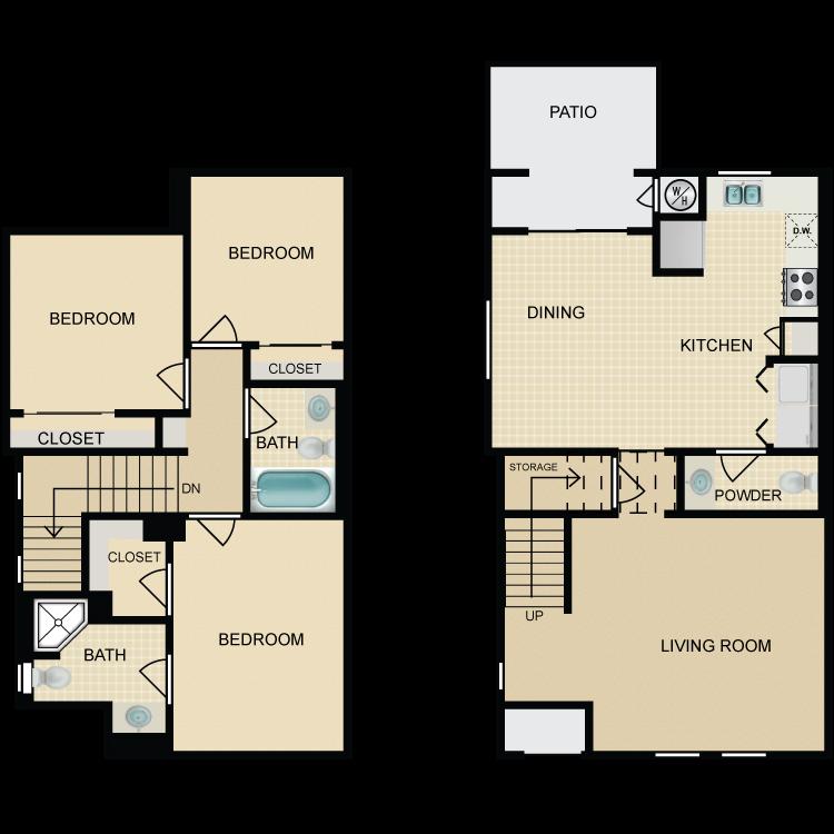 Floor plan image of 3 Bed 2.5 Bath