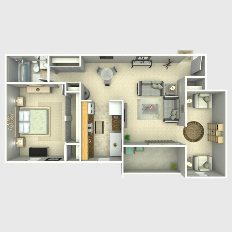 Floor plan image of 1 Bed with Den