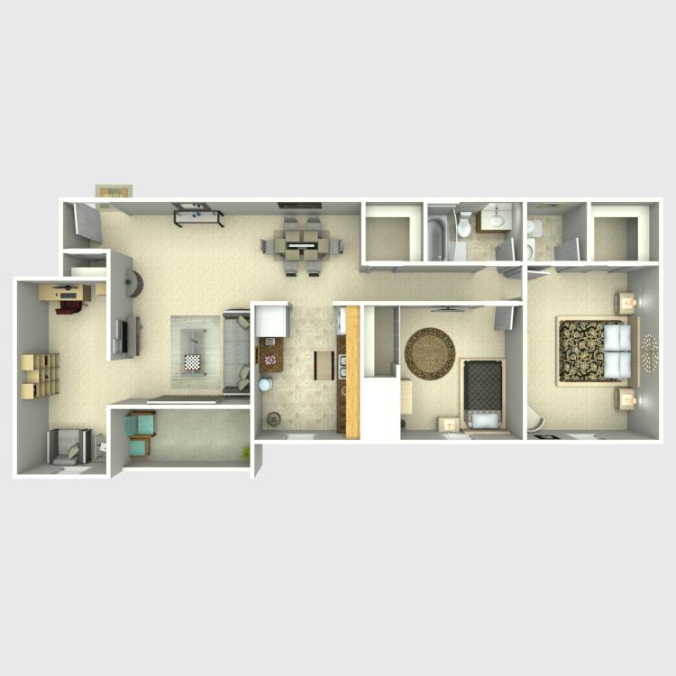 Floor plan image of 2 Bed with Den
