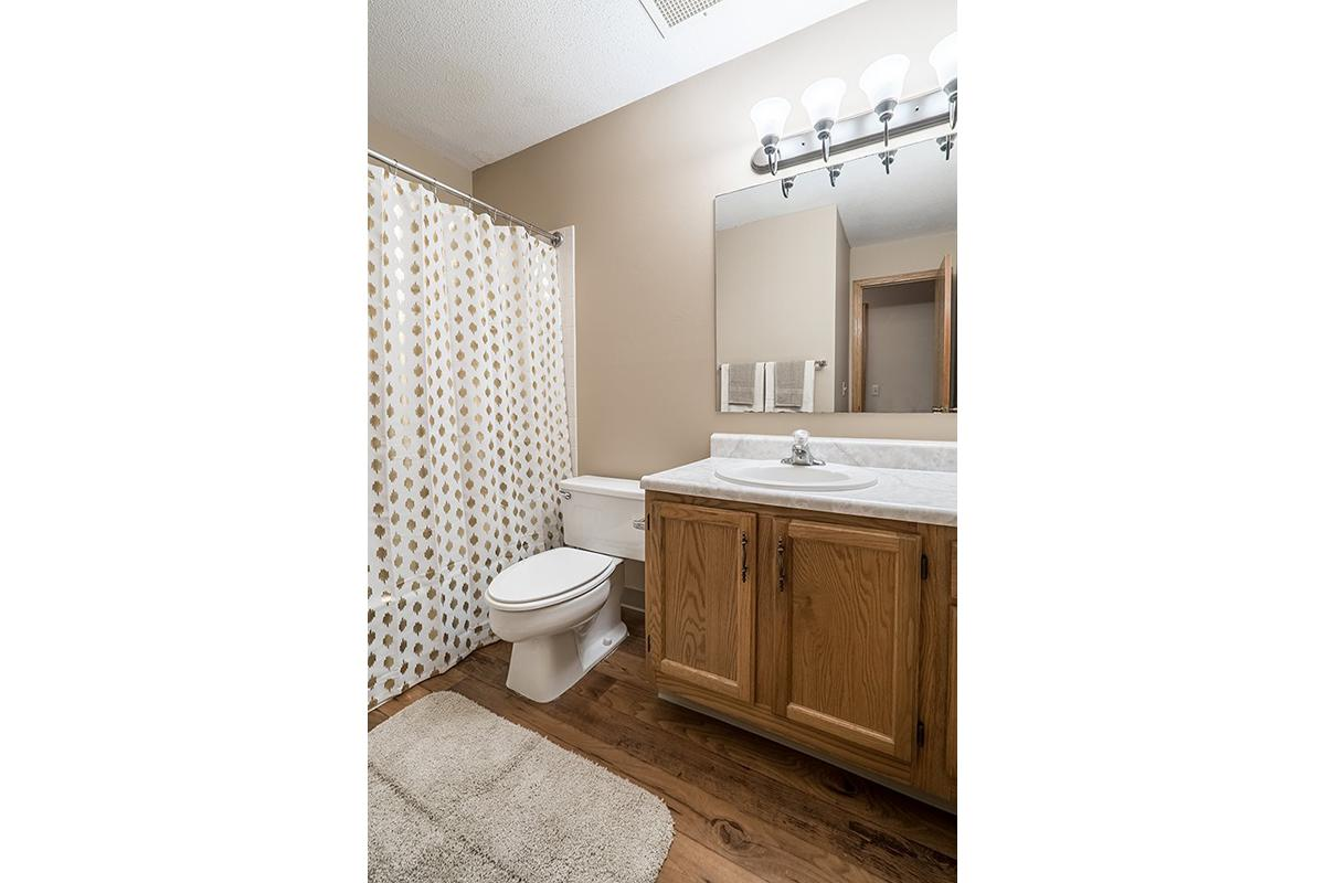 Interiors- Bathroom with bright lighting at Oakwood Trail Apartments in Omaha Nebraska.jpg