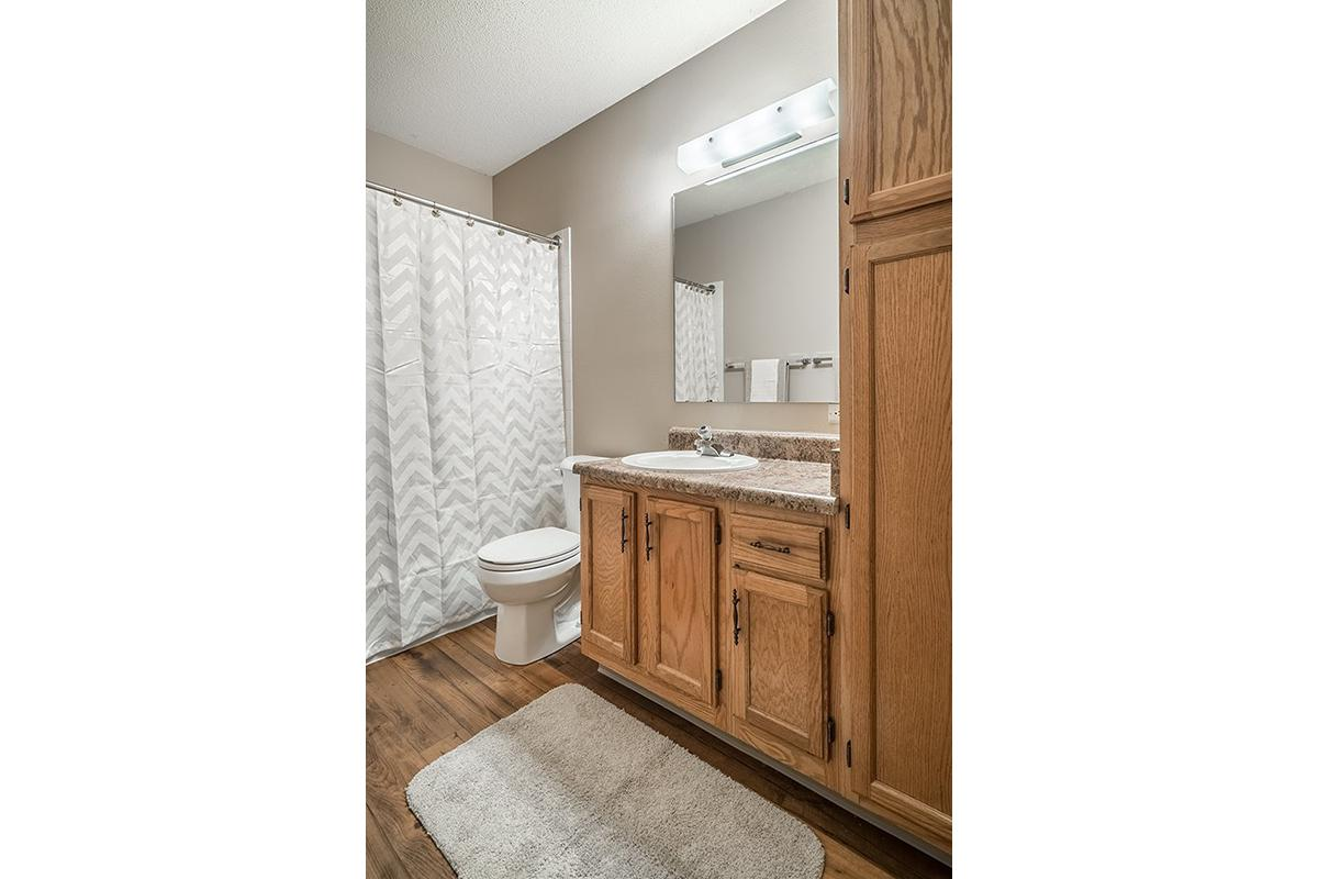 Interiors- Cozy bathroom at Oakwood Trail Apartments in Omaha Nebraska.jpg