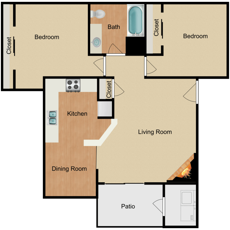 Floor plan image of 2 Bed 1 Bath with W/D Connection