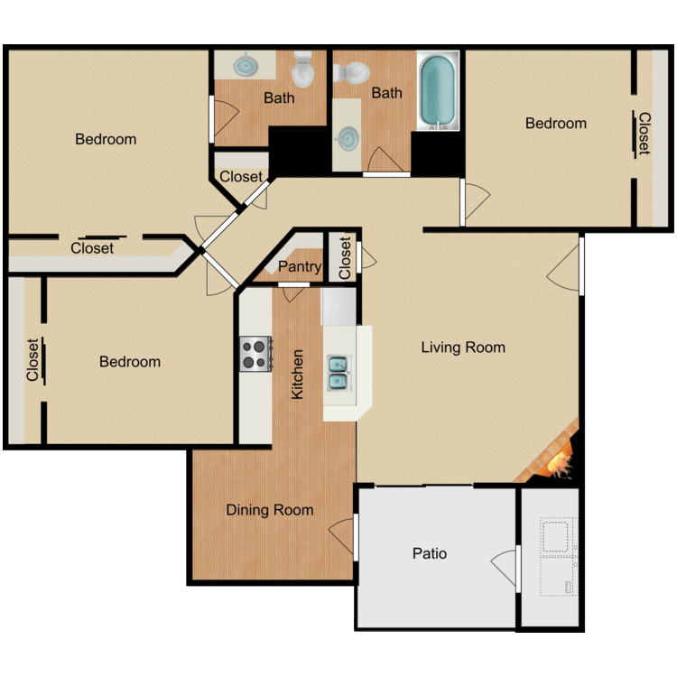 Floor plan image of 3 Bed 2 Bath with W/D Connection
