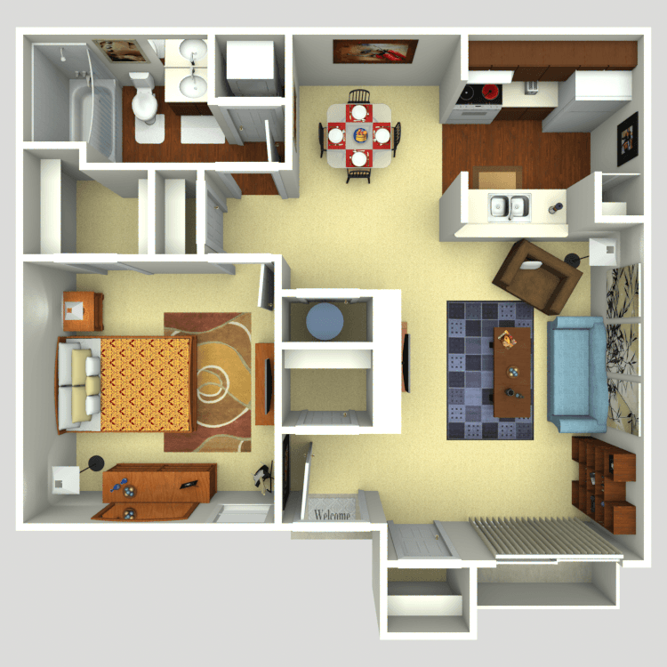 Floor plan image of 1 Bed 1 Bath A2