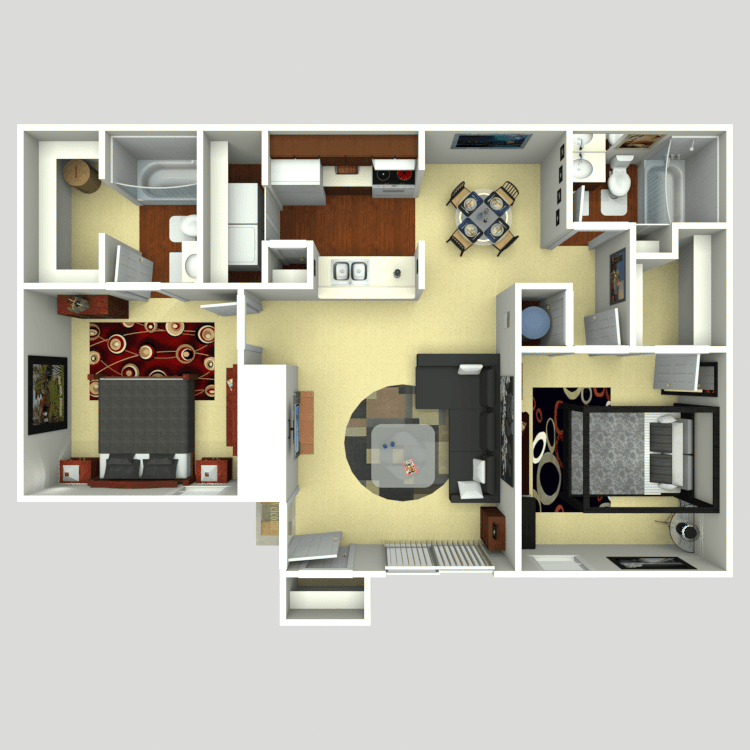 Floor plan image of 2 Bed 2 Bath B1