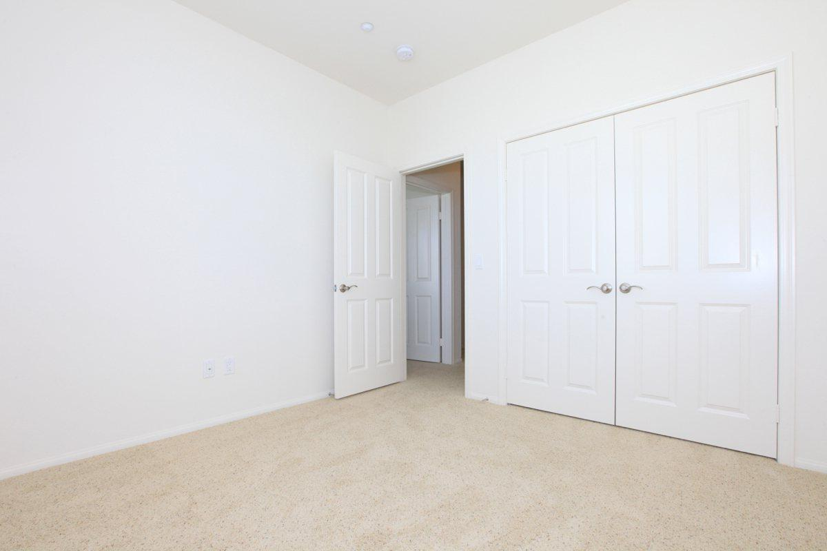 Bedroom with plush carpeting and double door closet