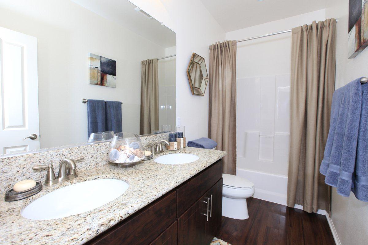 Bathroom with double sink vanity