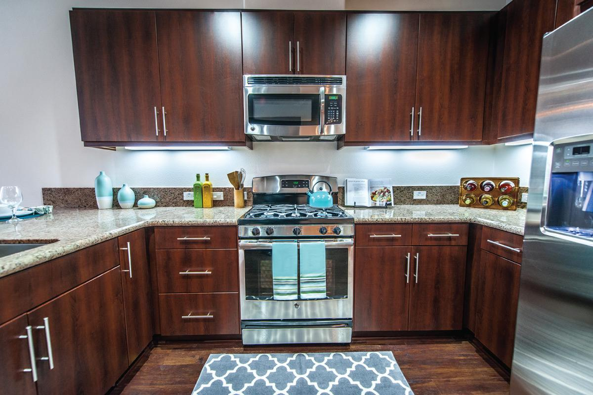 Espresso Wood Colored Cabinets, granite countertops, and stainless steel appliances