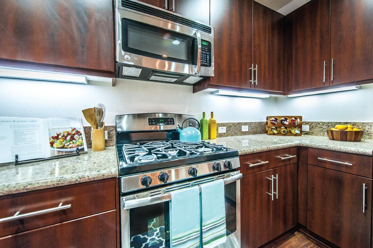 Kitchen with espresso cabinets and stainless steel appliances