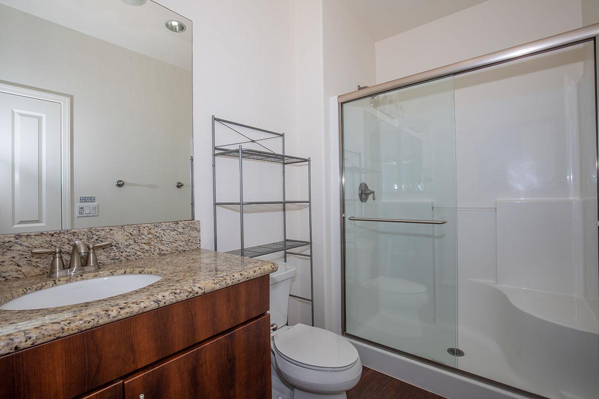 Bathroom with granite countertop and sliding shower door