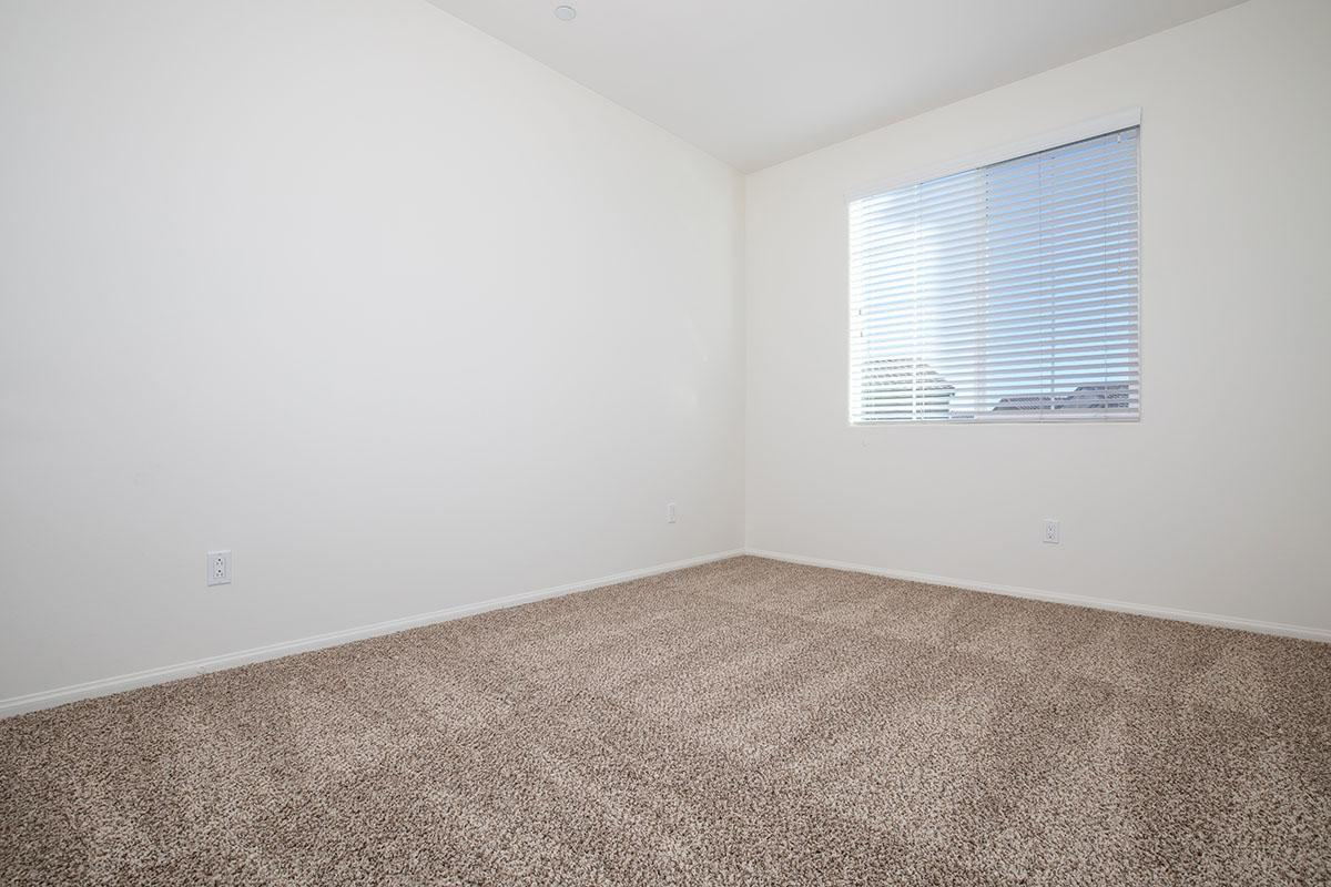 bedroom with mini blinds and plush carpeting