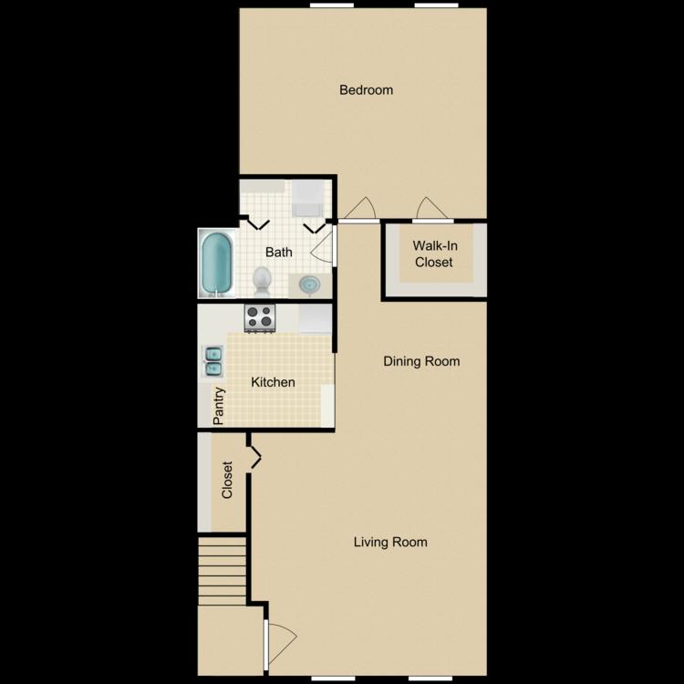 Floor plan image of One Bedroom Furnished