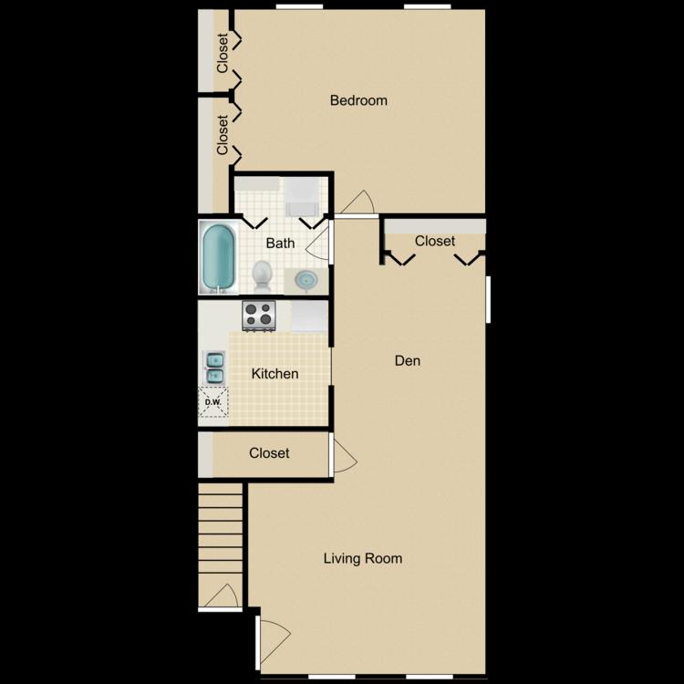 Floor plan image of One Bedroom with Den