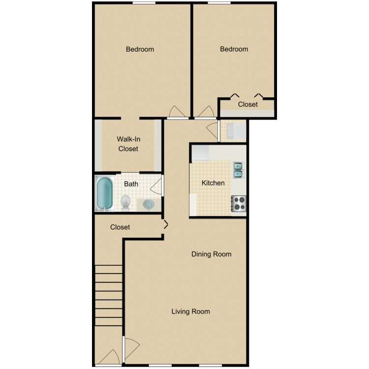 Floor plan image of Two Bedroom Furnished