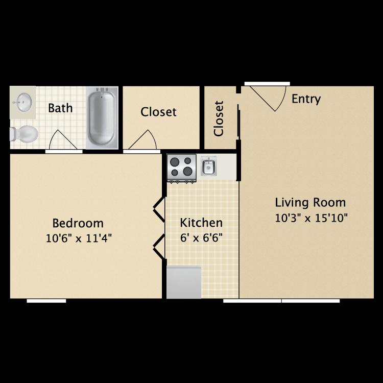 Floor plan image of 1 Bedroom 1 Bath