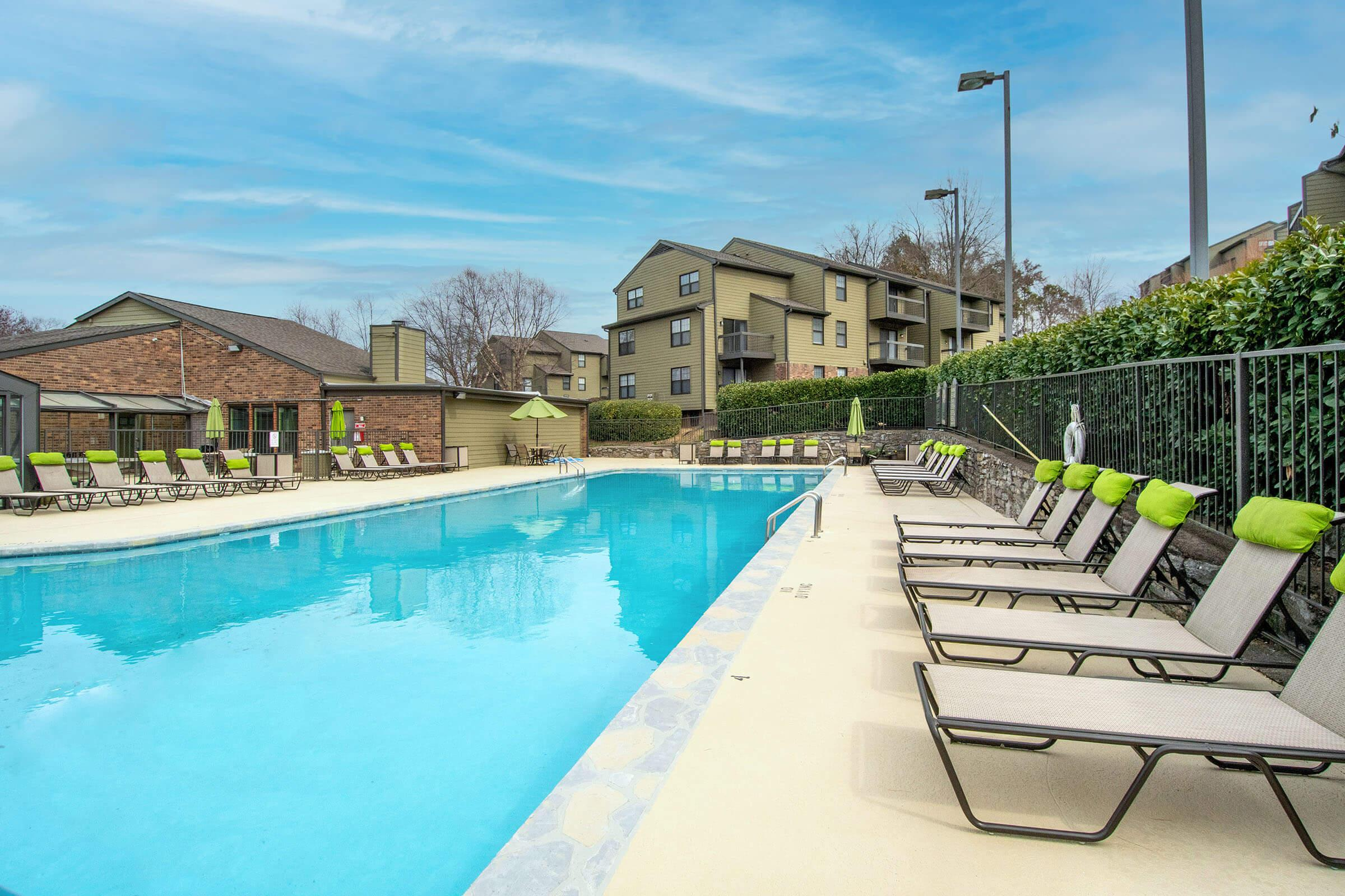 Sundeck by swimming pool