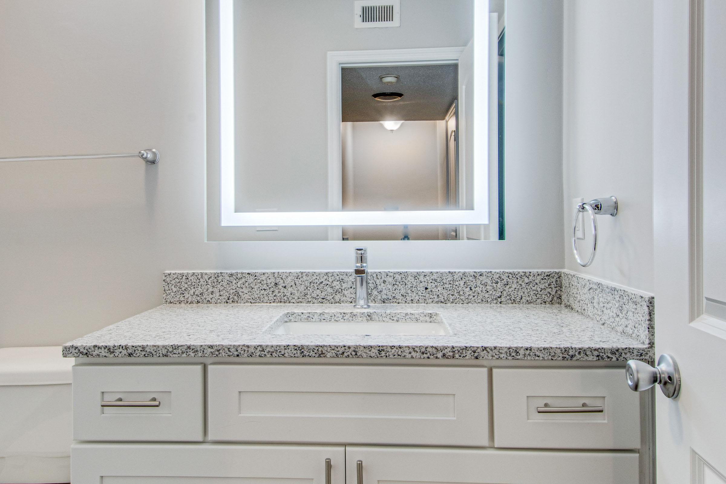 Bathroom vanity with lighted mirror