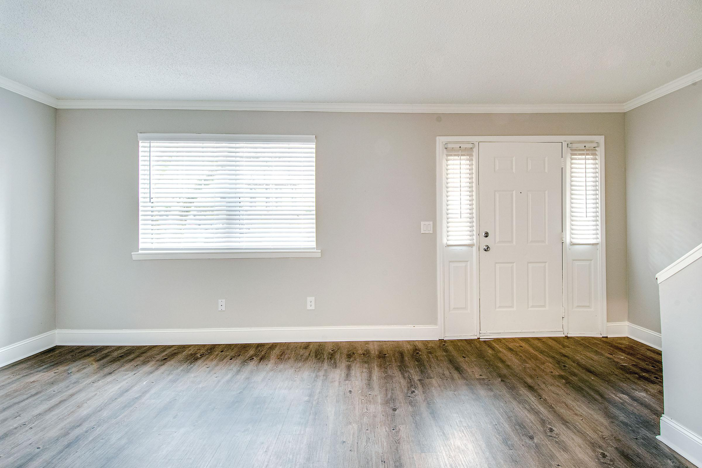 Living area with wood style flooring