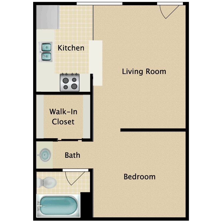 Floor plan image of Junior One Bedroom
