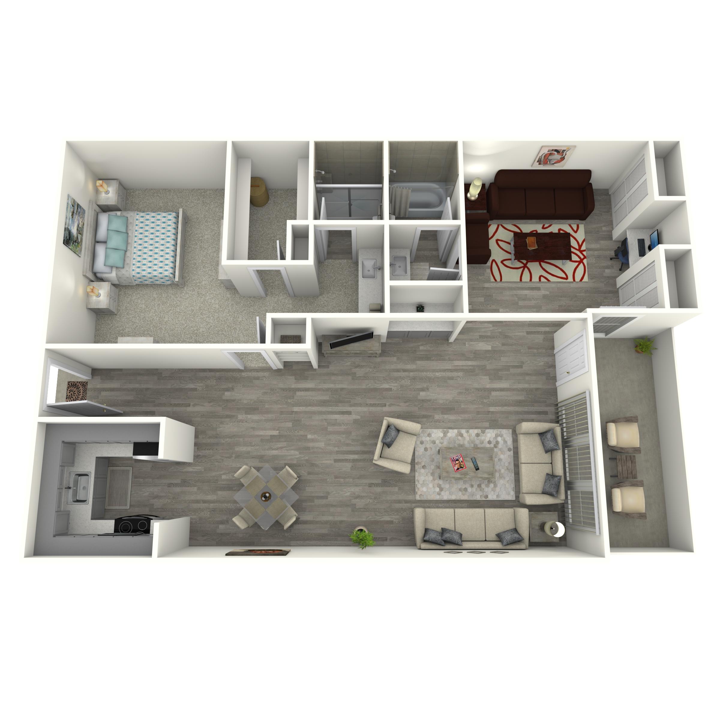 Floor plan image of 1x2 Den Renovated