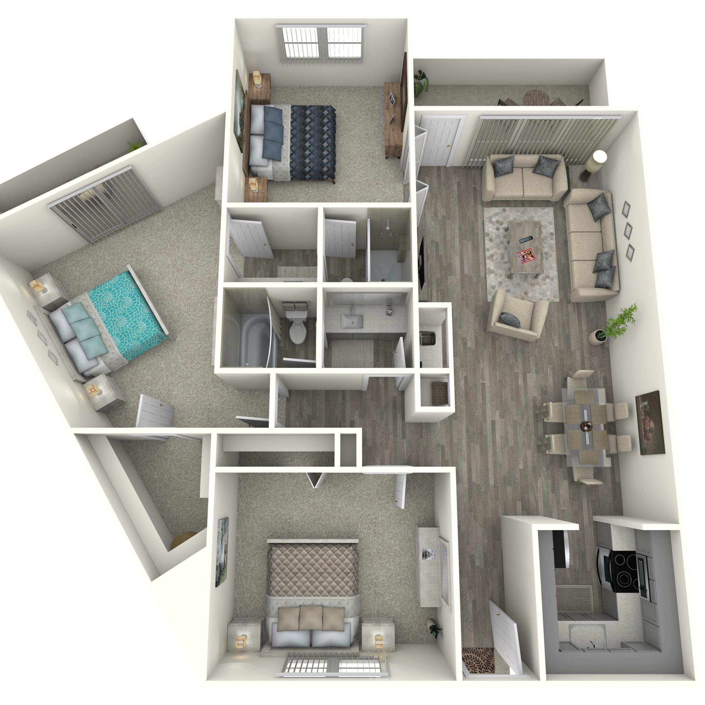 Floor plan image of 3x2 Renovated