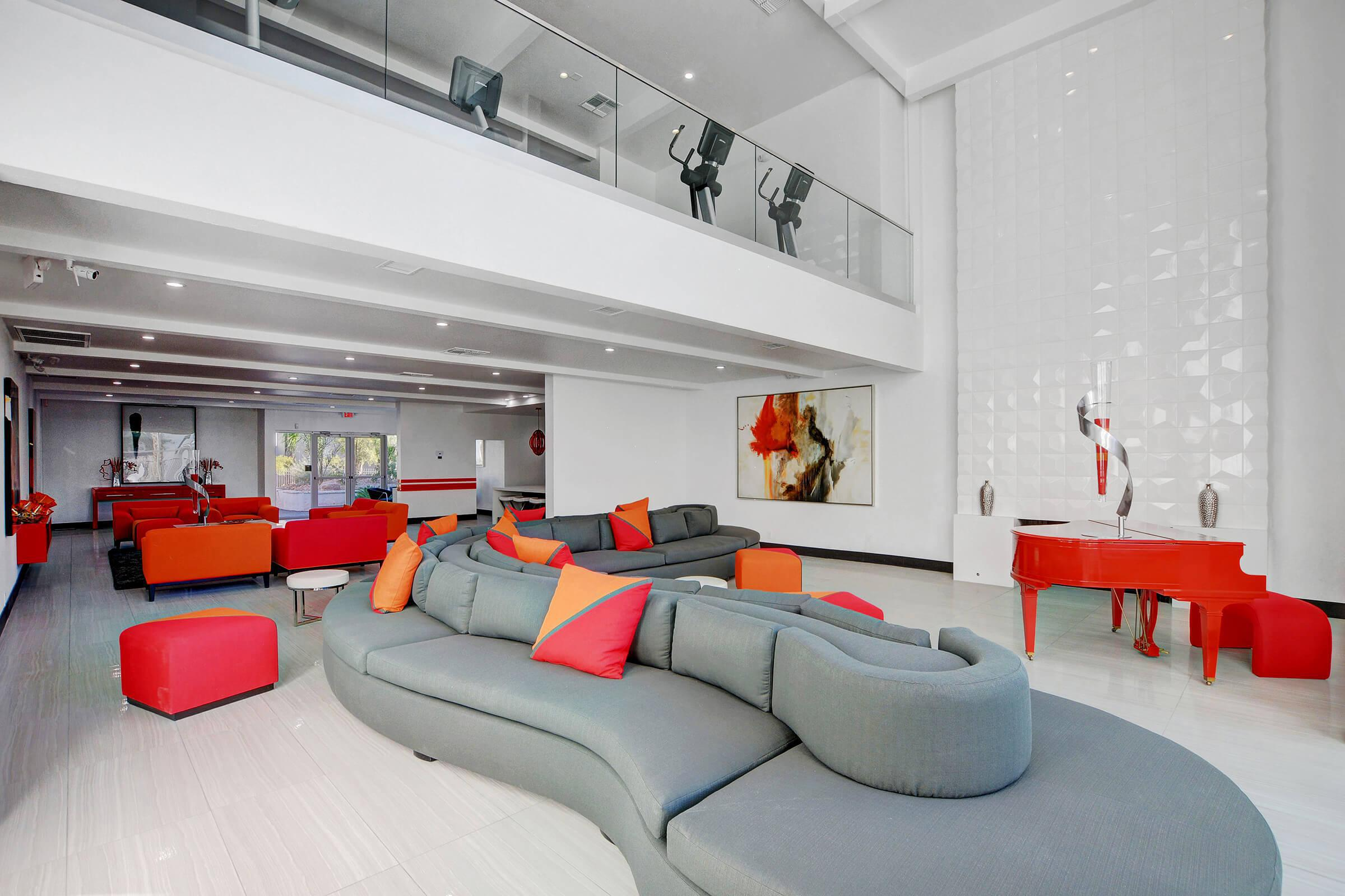 an orange room with red furniture