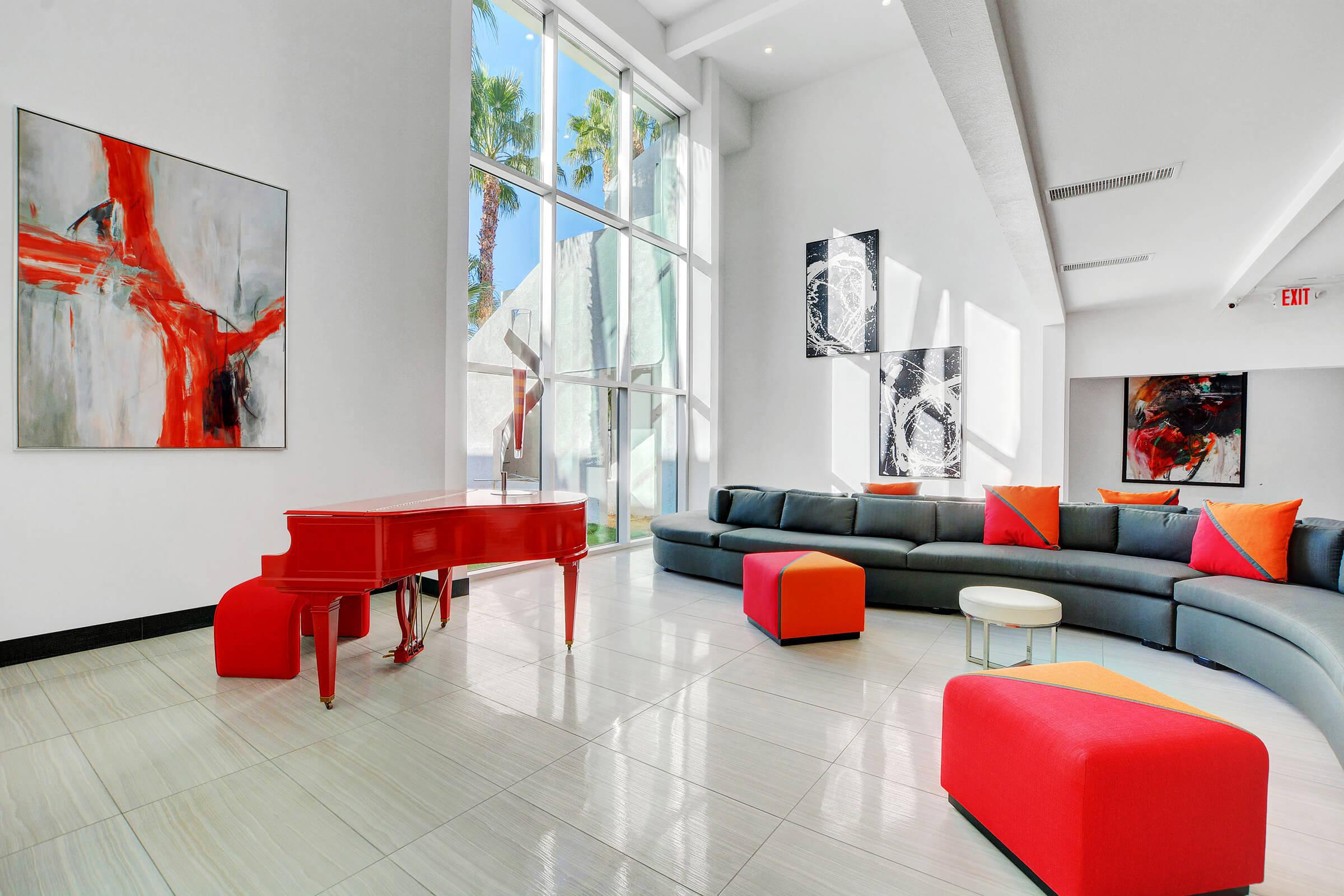 a large red chair in a room
