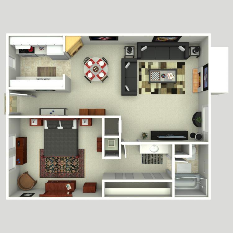 Floor plan image of 1 Bed 1 Bath A2