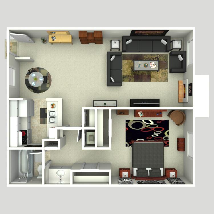 Floor plan image of 1 Bed 1 Bath A3