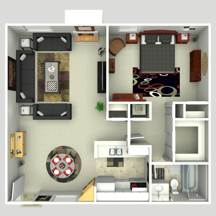Floor plan image of 1 Bed 1 Bath A4