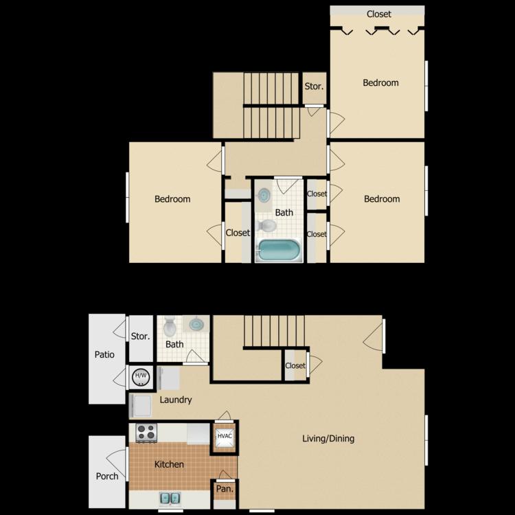 3 Bed 1.5 Bath floor plan image