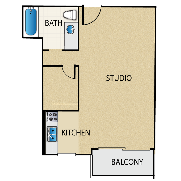 CLICK THE FOR MORE FLOOR PLAN INFORMATION. Studio