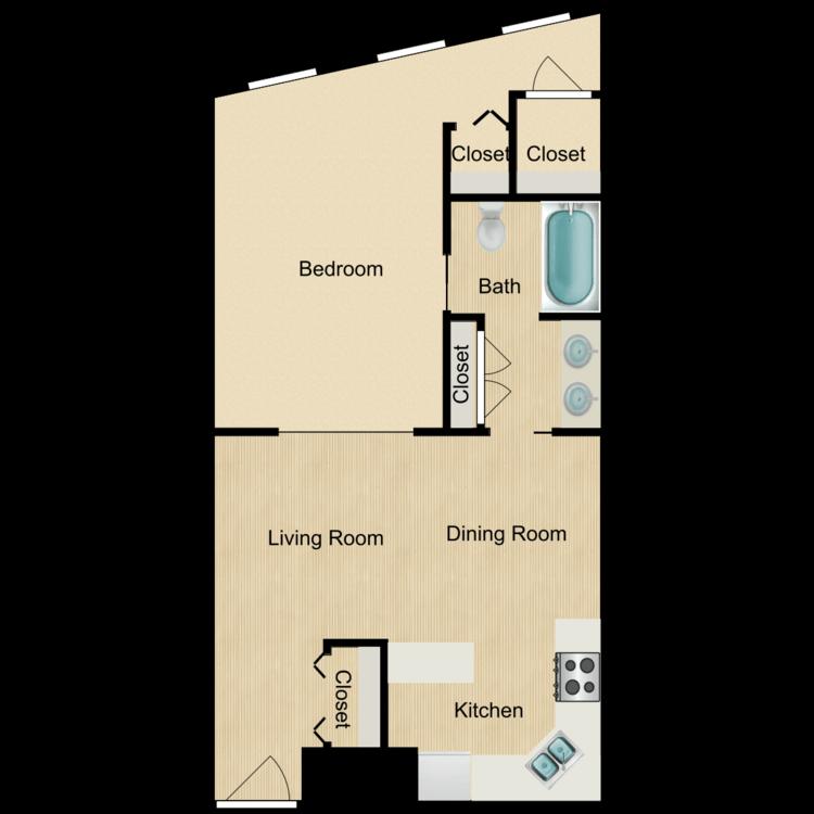 133-01 series-One Bedroom (rented) floor plan image