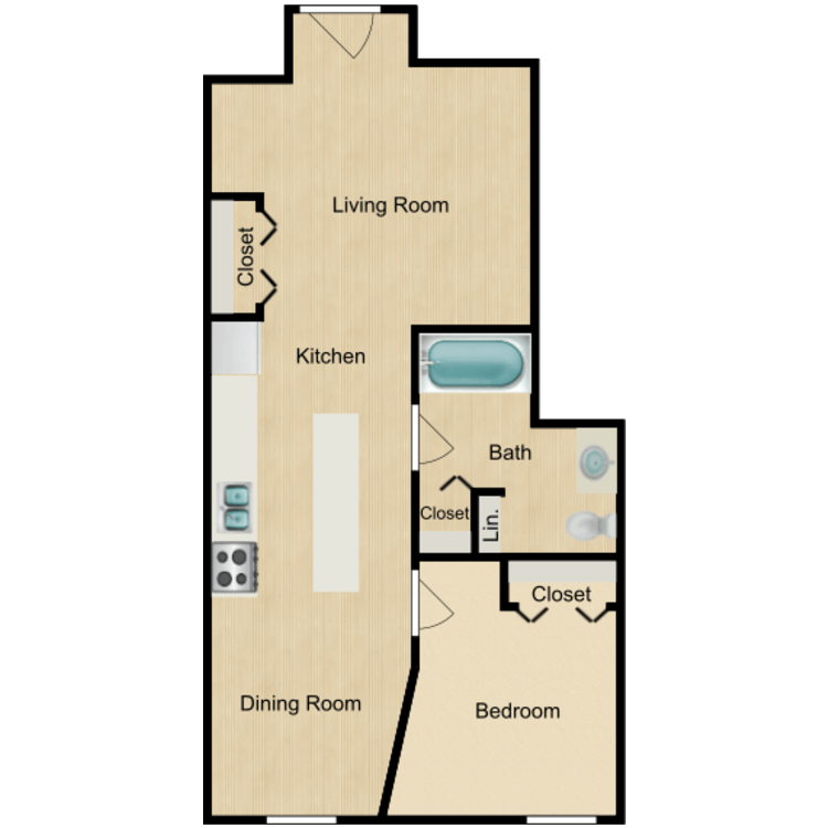 135 Rear One bedroom (rented) floor plan image