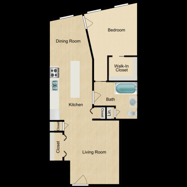 135 Front One bedroom (rented) floor plan image