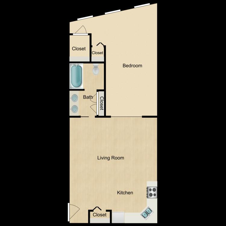 133 -02 Series One Bedroom (rented) floor plan image