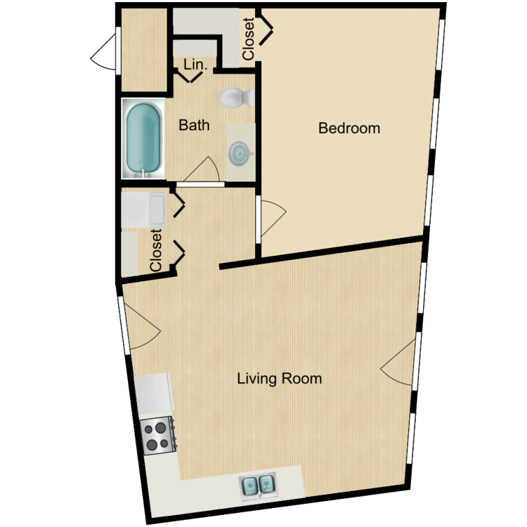 Floor plan image of 155-04 series One-bedroom (Sept. 2020) from $1050