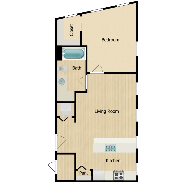 Floor plan image of 155-01 series One-bedroom (Sept. 2020) from $1050