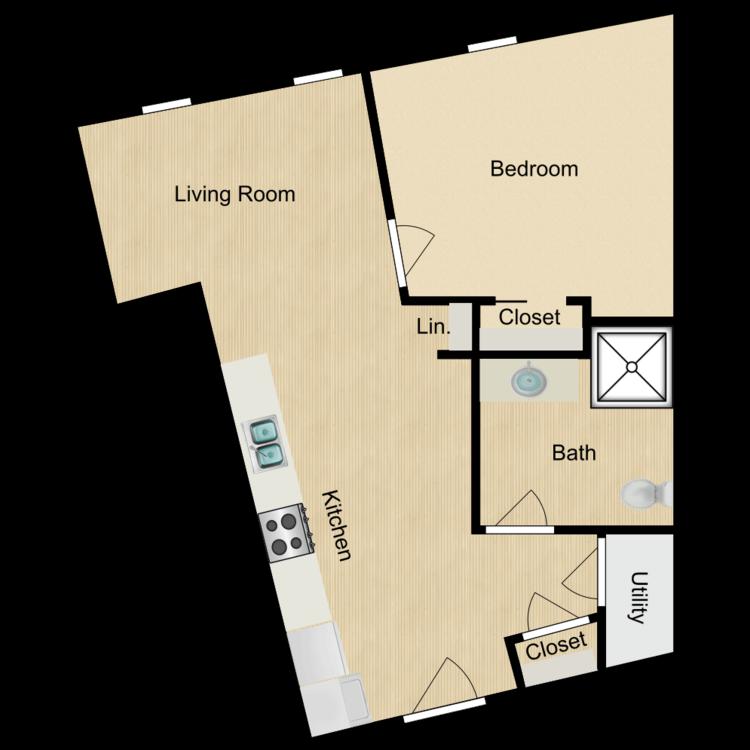 143-201 One bedroom (rented) floor plan image