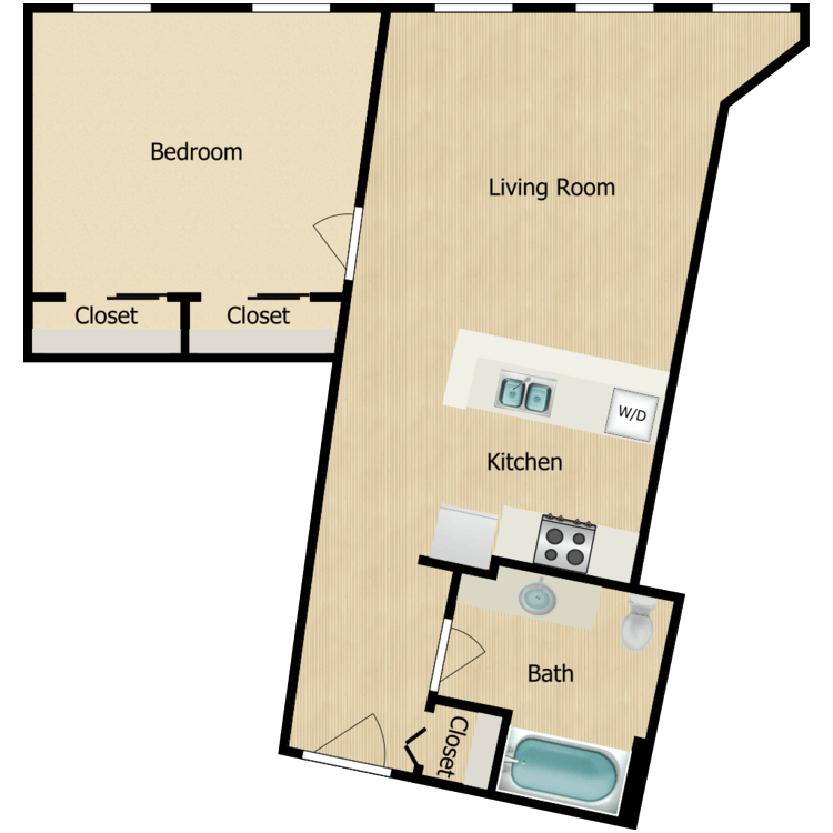 Floor plan image of 155-03 series One-bedroom (Sept. 2020) from $1050