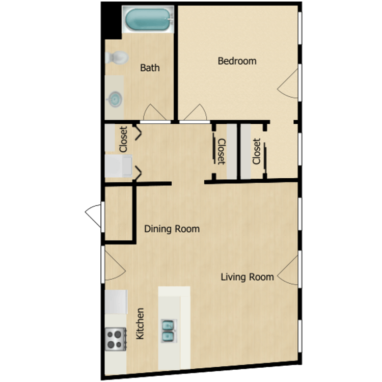 Floor plan image of 155-02 series One-bedroom (Sept. 2020) from $1050