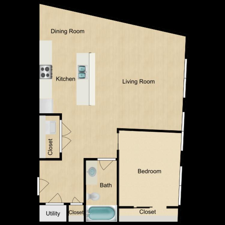143- 202 One bedroom (rented) floor plan image